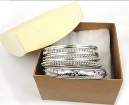 New Arrive Gift set Rhodium plated metal banele set with Box clear and colored gems for Women Crystal Bracelets & Bangles
