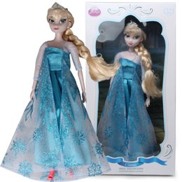 Wholesale High quality Limited Edition Frozen Queen Elsa Dolls With Crown and Retail Box Plastic Movie Doll EMS or NHL