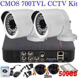 système de sécurité cctv Dropshipping installer 700TVL vision nocturne ir télécommande téléphone cellulaire vue 2ch kit cctv 4ch DVR 500GB HDD à partir de système de commande de cellule fournisseurs