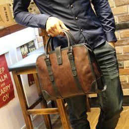 Wholesale Canvas Briefcase Bags Men - Men Genuine Leather Coffee Vintage Business Briefcase Messenger Shoulder Bags