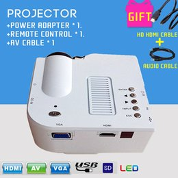 Wholesale Hottest uc28 Mini LED Theater Projector Multimedia Player Support HDMI VGA AV Small Portable Mini LED Data Projector White Cables