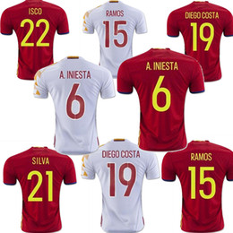 Wholesale Spain Euro jersey INIESTA RAMOS home red away white FABREGAS COSTA SILVA ISCO VAXI top quality spain football shirt soccer jersey