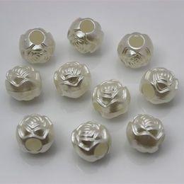 200PCS 10mm Resin imitation pearl Roses beads Loose Beads Big Hole Beads Hole dia:4mm ZZ20
