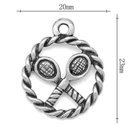 Wholesale Vintage Alloy Badminton Charms Antique Silver Coated Battledore Bangle Charms AAC914