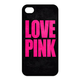 Wholesale Love Pink black back Design Hard Plastic Mobile Phone Case Cover For iPhone 4 4S 5 5S 5C 6 6 Plus