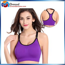 Wholesale Anti vibration sport bras high elasticity seamless wire free push up sport bra top for Gym