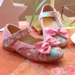 Pink bowknot lace princess shoes children shoes girls shoes Pu leather shoes