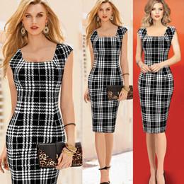 New Fashion Dresses Women Sleeveless Party Dresses Black White Plaid Design Mini Dress Sexy Work OL Dress Pencil Casual Dresses