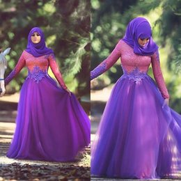 Purple Chiffon Prom Dresses A-Line Muslim Arabic Dubai Long Sleeves Floor Length Long Lace Evening Dresses Gowns