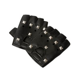 Wholesale-2015 Womens Mens Pu Leather Rivets Half-finger Leather Gloves With Rivets Hip-hop Fashion Ornament Decor Accessories GLV-0025