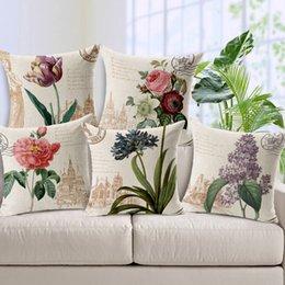 Wholesale American Village flower and bird designs pillowcase home decorative cotton linen throw pillow cushion cover for sofa chair car home decor