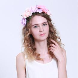 New Women Wedding Floral Crown Flower Garlands Girl Hairband Tiara Festival Ornament Bohemian Style Beach Headbands for Wholesale
