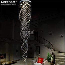 Wholesale Spiral Crystal Chandelier Light Fixture Long Crystal Stair Lamp Flush Mounted Stair Light Fitting for staircase villa