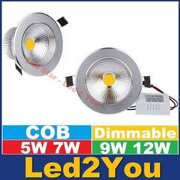 2017 luces de techo led brillantes COB 5W 7W 9W 12W regulable Led Downlight techo luces Super brillante 120 ángulo cálido/frío blanco Led gabinete lámparas CA 110-240V luces de techo led brillantes baratos