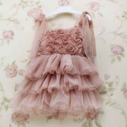Wholesale baby girl kids rose tutu dress floral tutu dress flower tutu dress pettiskirt tutu tulle cake layers lace dress chiffon party ball costume