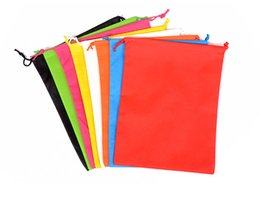 Wholesale cm Hx30cm non woven sack with rope storage bag multiple colours for shoe clothes dust proof