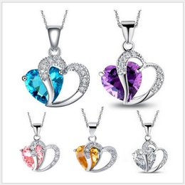 Wholesale Silver plated Swarovski crystal necklace diamond heart shaped pendant diamond necklace Han edition popular peach heart crystal violet crysta