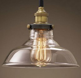 Wholesale RH Loft pendant lights Nordic American glass bowl hanging lamp Vintage edison bulb chandelier Dining room decoration lights V V