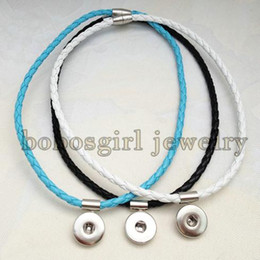 Wholesale snap button jewelry Newest Braided PU leather necklace Can be used as bracelet OEM ODM NB006 fit mm mm snap