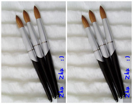 New Design Nail Tools Black Metal Handle #10-#24 Kolinsky Round Sharp Professional Painting Nail Acrylic Brush 1pcs lot