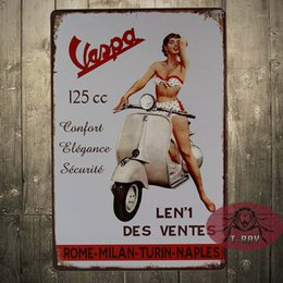 Wholesale Vespa Scooter Calssic Italian Vespa Collection Medium Metal Tin Sign Picture