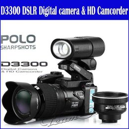 Wholesale 2015 New MP HD D3300 Digital Camcorder Camera Wide Angle Lens x Optical Telescope Lens D3000 D3200 Stock Free DHL