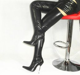 Wholesale 5Inches high heels womens boot black matt PU fetish BDSM thigh high boots for women US size