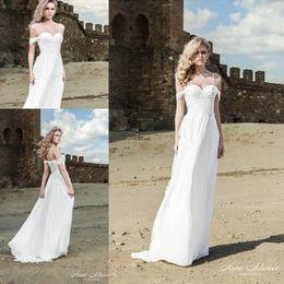 2015 Summer Beach Wedding Dresses Sexy Spaghetti Straps Lace off the Shoulder Boho Wedding Gowns Bridal Dress Simple Vestidos de Novia