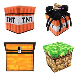Wholesale 30 cm Minecraft Storage box Multifunction Storage bag Foldable Stool hot Accessories in stock DHL MOQ SVS0378