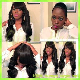 2015 Hot 150 Density Silky Straight Glueless Full Lace Human Hair Wig With Bangs Brazilian Virgin Lace Front Wig For Black Women