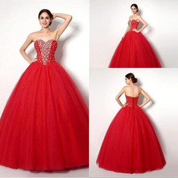 Hot Sale Ball Gown Rhinestone Sweetheart Floor Length Beaded Quinceanera Dress Long Prom Party Dresses Red Tulle