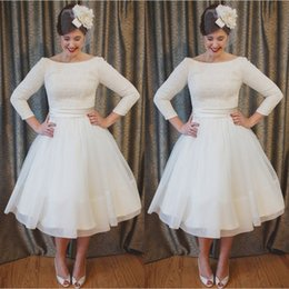 Plus Size Tea Length Lace and Chiffon Wedding Dresses Cheap A Line Beach Bridal Gowns with 3 4 Long Sleeves Elegant Custom Made