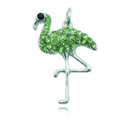 Vintage Charms Rhinestone Flamingo Charm Pendant Antique silver Fit Bracelets Necklace DIY Metal Jewelry Making DZ1317
