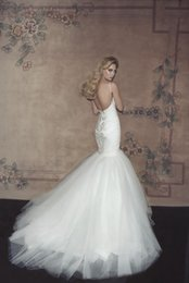 Sexy Mermaid 2015 Wedding Dresses Sweetheart Spaghetti strap wedding gowns Sexy Lace Appliques Bride Gowns Sexy Backless Floor-length
