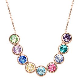 Austrian Crystal Pendant Necklace 18K Rose Gold Plated Made With Swarovski Elements Women Vintage Fashion Jewelry 5182