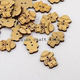 600pcs big DIY Kawaii Wood Button wooden buttons Boy in hat Natural color 24mmx15mm farmer tan overalls