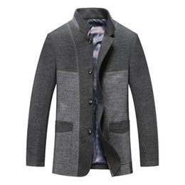 High quality Men wool coat Middle aged man stand collar Single Breasted woolen coat Winter Wool & Blends Casual male overcoat