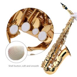 Wholesale Clean Sax - bE Alto Saxphone Brass Lacquered Gold E Flat Sax 802 Key Type with Cleaning Brush Cloth Gloves Cork Grease Strap Padded Case order<$18no tra