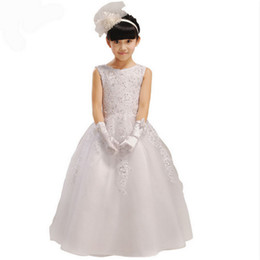 High Quality Lace Flower Girl Dresses 2015 Princess Girls Pageant Dresses Kids Appliques Floor Length Wedding Party Gown