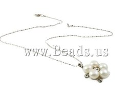 Wholesale-Free shipping!!!Freshwater Pearl Brass Chain Necklace,Chinese Jewelry Company, Cultured Freshwater Pearl