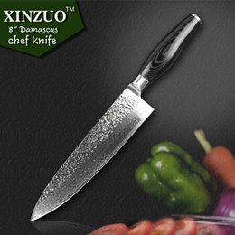 Wholesale XINZUO quot chef knife Japanese Damascus kitchen knife kitchen tool senior meat vegetable knife Color wood handle
