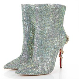Wholesale Cheap Heels For Winter - Cheap Handmade Dress Shoes Bling Rhinestone Wedding Bridal Boots For Winter women fashion Red Bottom Snake Heels Pumps with Warm Fur Lining