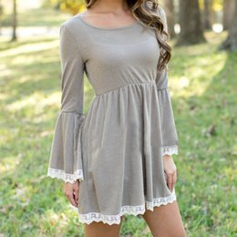 Wholesale Autumn Winter Dress Womens Scoop Neck Long Bell Sleeve Gray Skate Dress White Lace Trim Tunics Casual Mini Dresses HMF0392