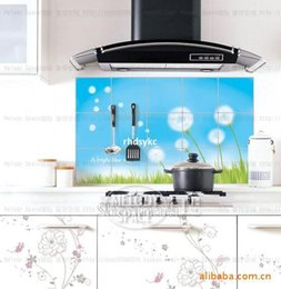Wholesale 10 home decor oil wall stickers dandelion aluminum Perot kitchen tile oil sticker flame temperature Stickers LD010