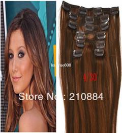 "Wholesale - new 15"" 18"" 20"" 22"" Full Head Remy Human Hair Color 4 30 7pcs Brazilian Virgin Hair clip in hair extensions Fahion"