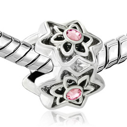 Wholesale Retail Alloy Material With Rhodium Plating Pink Crystal Rhinestone Hexagon Flower European Beads For Pandora Bracelet