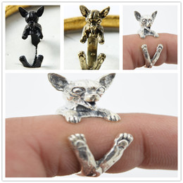 1pcs free shipping wholesale adorable retro Chihuahua dog Ring free size cute animal hippie Chihuahua dog Ring jewelry for women