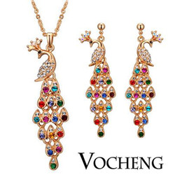 Wholesale Colorful Peacocks Jewelry Sets Oriental Element k God Plated Vs Vocheng Jewelry