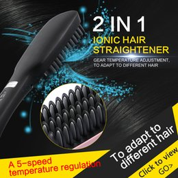 Wholesale 2 in Hair Straightener Combs New Automatic Ionic US EU Plug electronic Hair Brush Straightener escova Beard Iron With LCD screen
