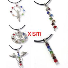 10pc Reiki Chakra Pendant,wings of an angel&caduceus 7 Chakra Rhinestone Pendant Necklace Fit Beauty Woman